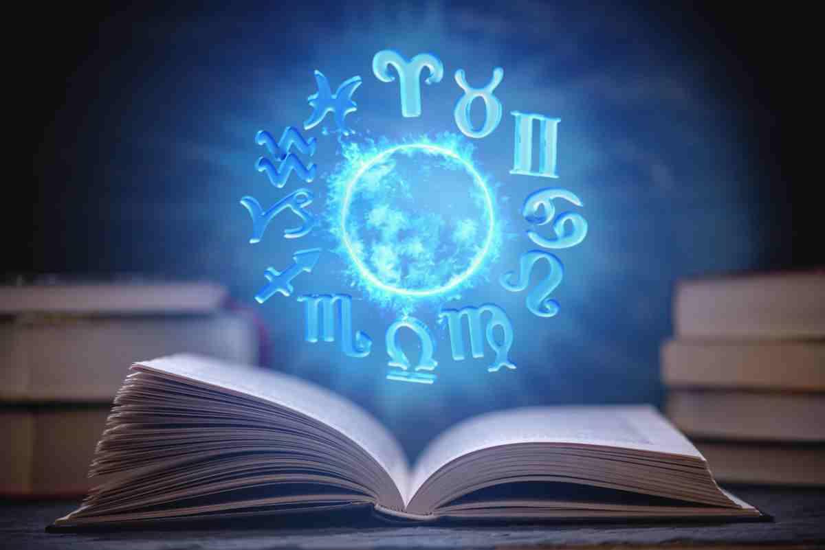 Los 12 signos del zodíaco en azul brillante sobre un libro abierto