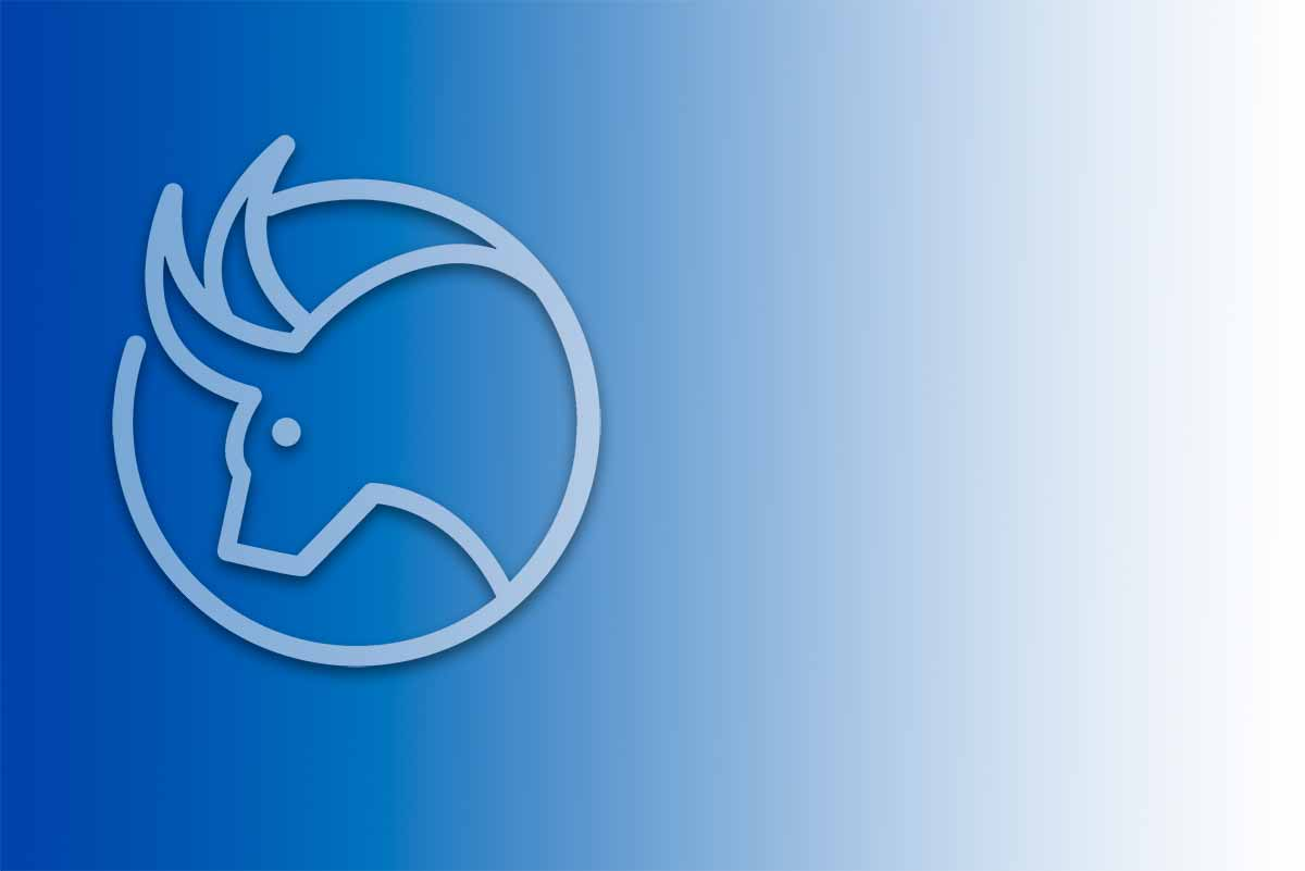 White silhouette of the Taurus Zodiac sign on a blue gradient background