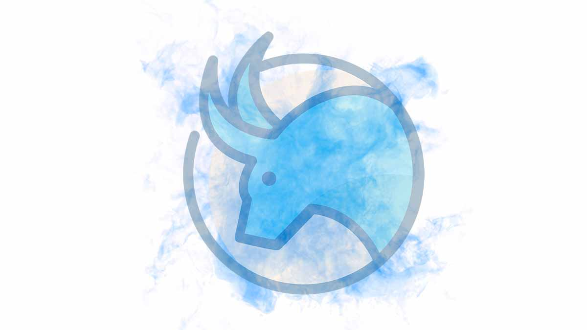 The Taurus sign on a blue smoky blackground