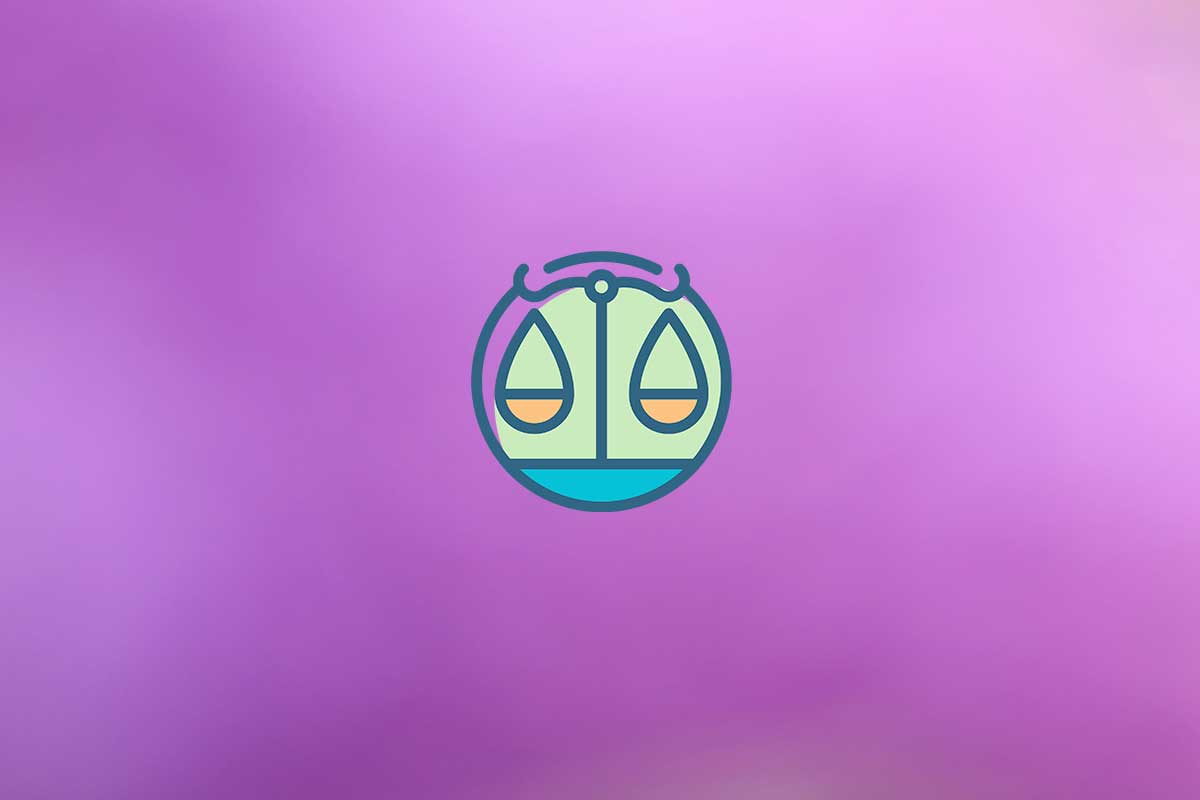 The Libra sign with a purple background