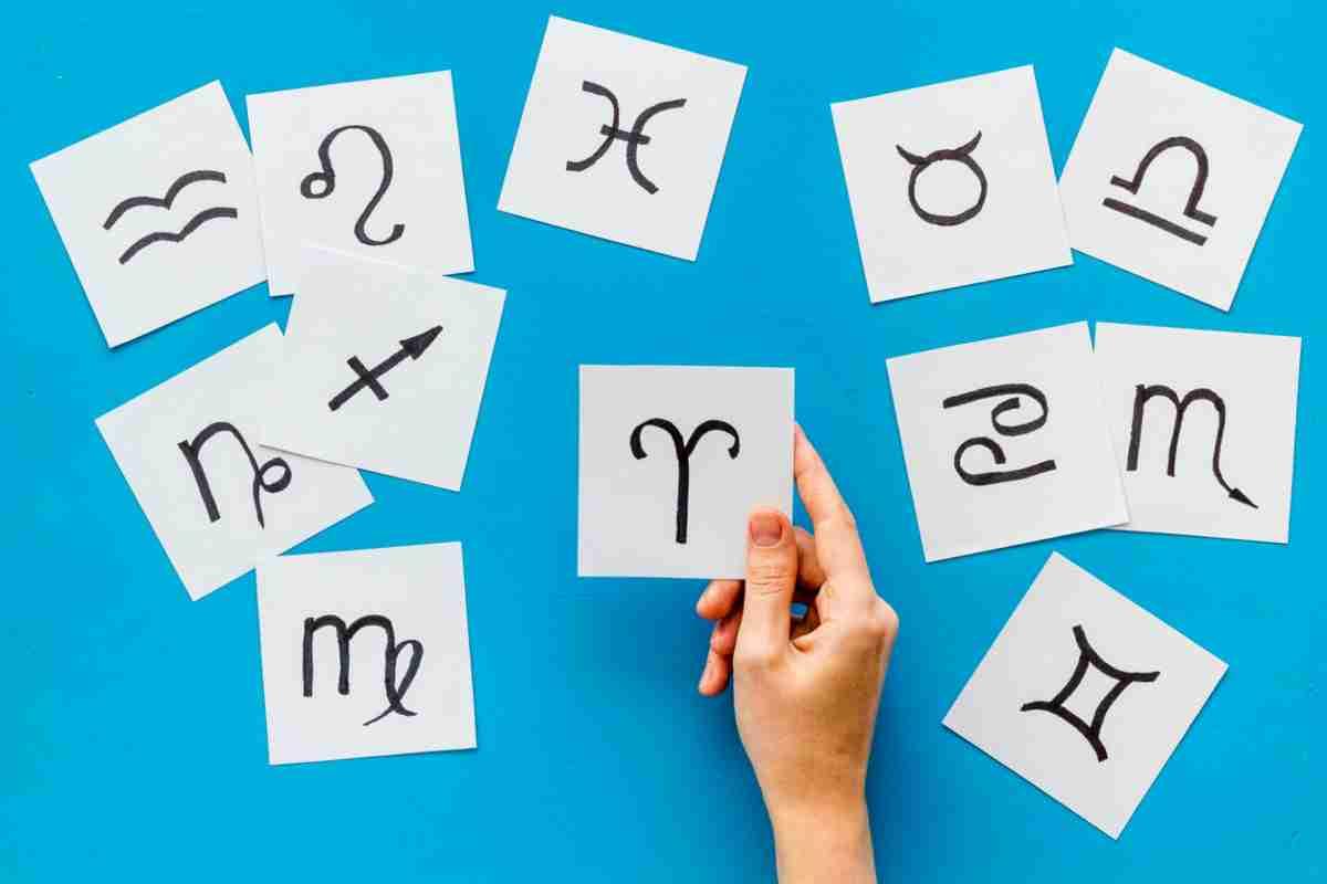 Mano cogiendo una hoja con el símbolo de Aries dibujado y alrededor hojas con el resto de signos del zodíaco