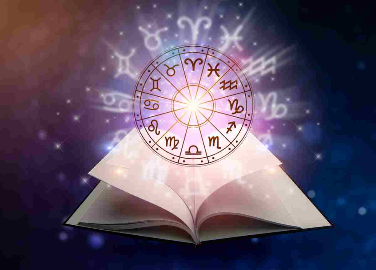 The 12 Zodiac signs in a circle with a book under it