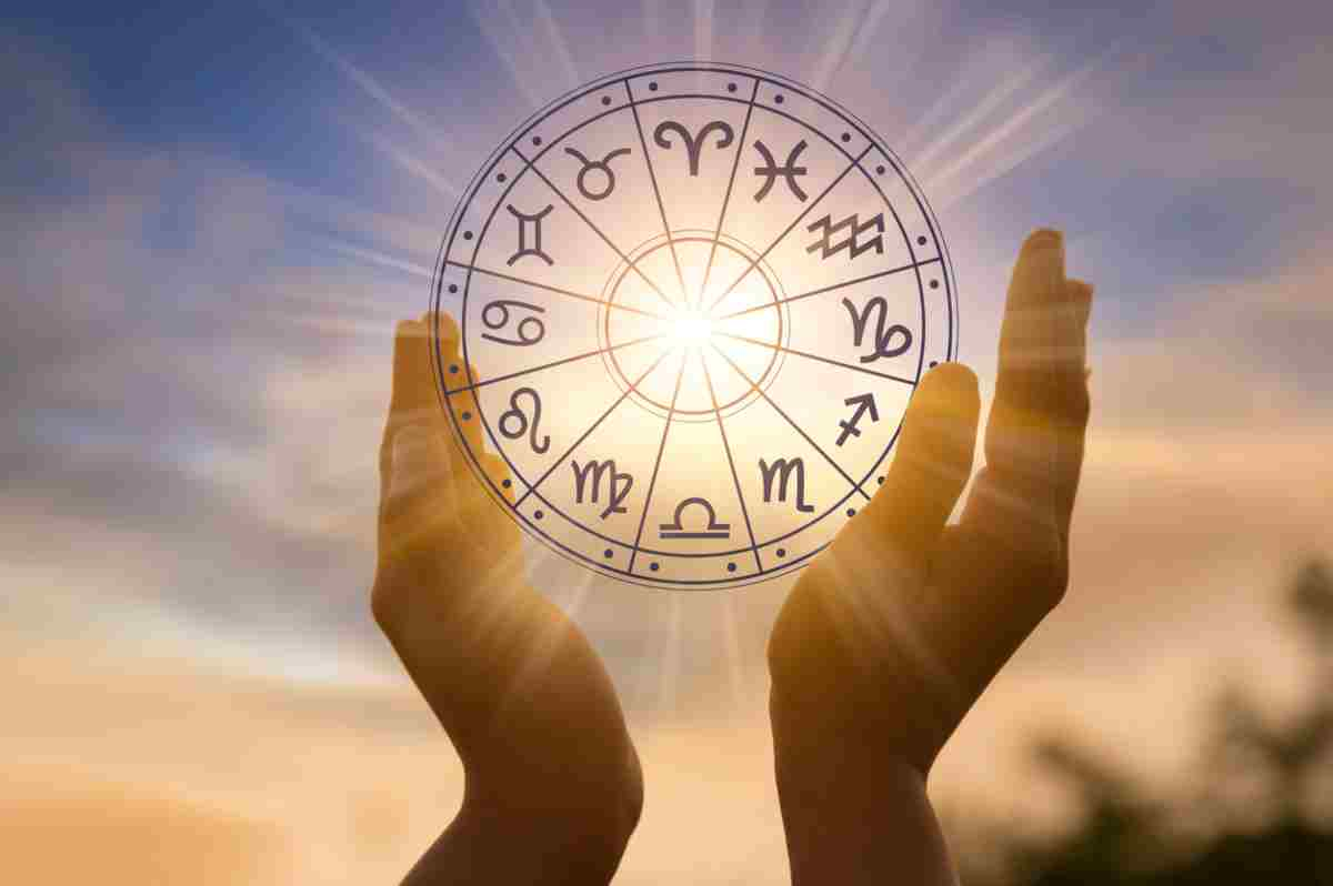 The 12 Zodiac signs in a circle between two hands