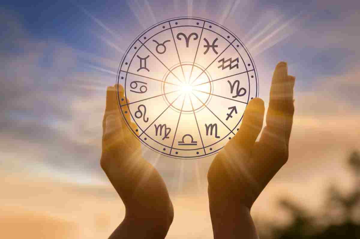Les 12 signes du zodiaque dans un cercle rougeoyant levé par deux mains