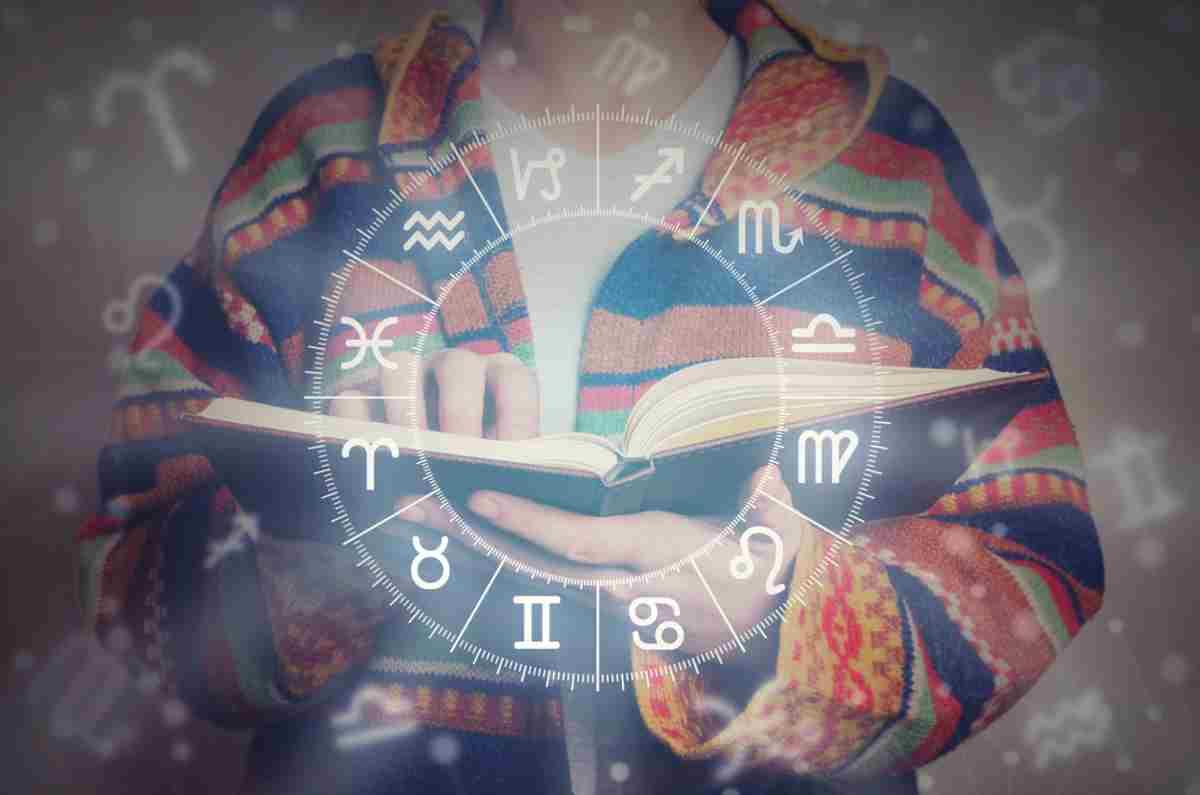 Los 12 signos del zodíaco en un círculo blanco y al fondo una chica leyendo un libro