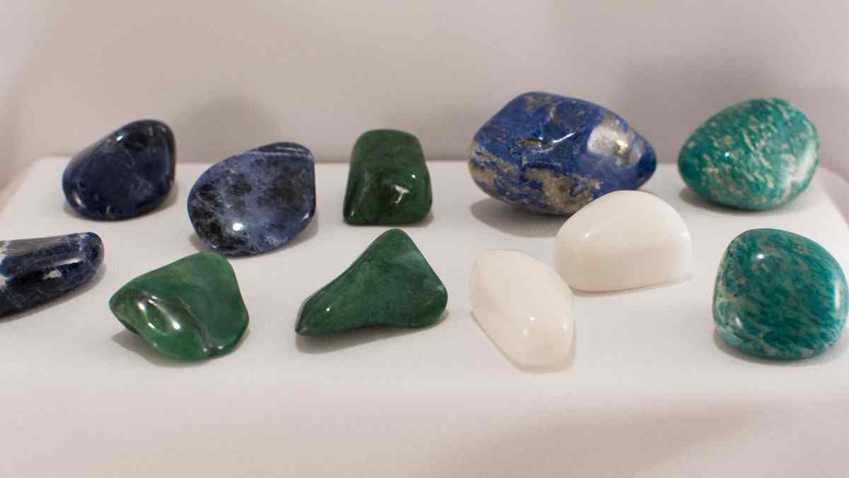 Some gemstones on a white base