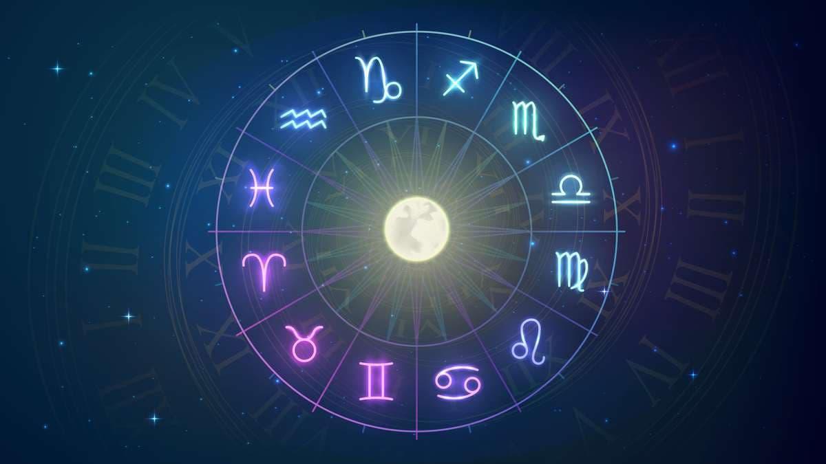 Los 12 signos del zodíaco en un círculo con la luna en el medio