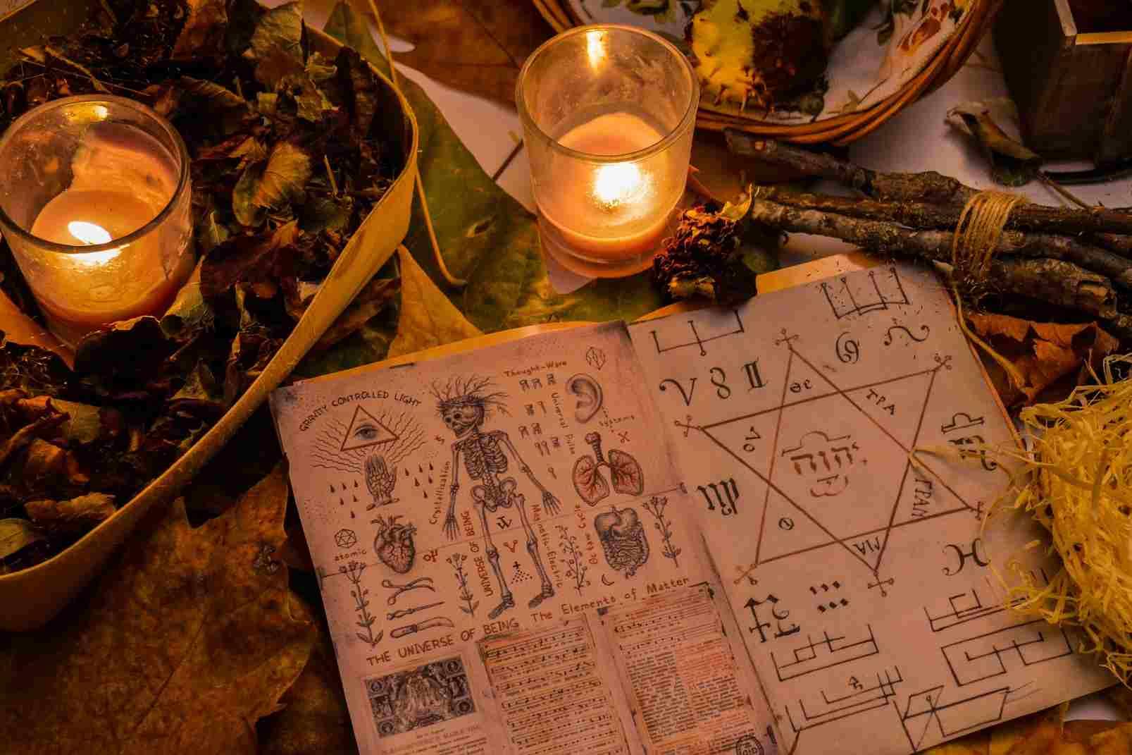Un libro de hechizos rodeado de plantas y raíces, así como dos velas amarillas
