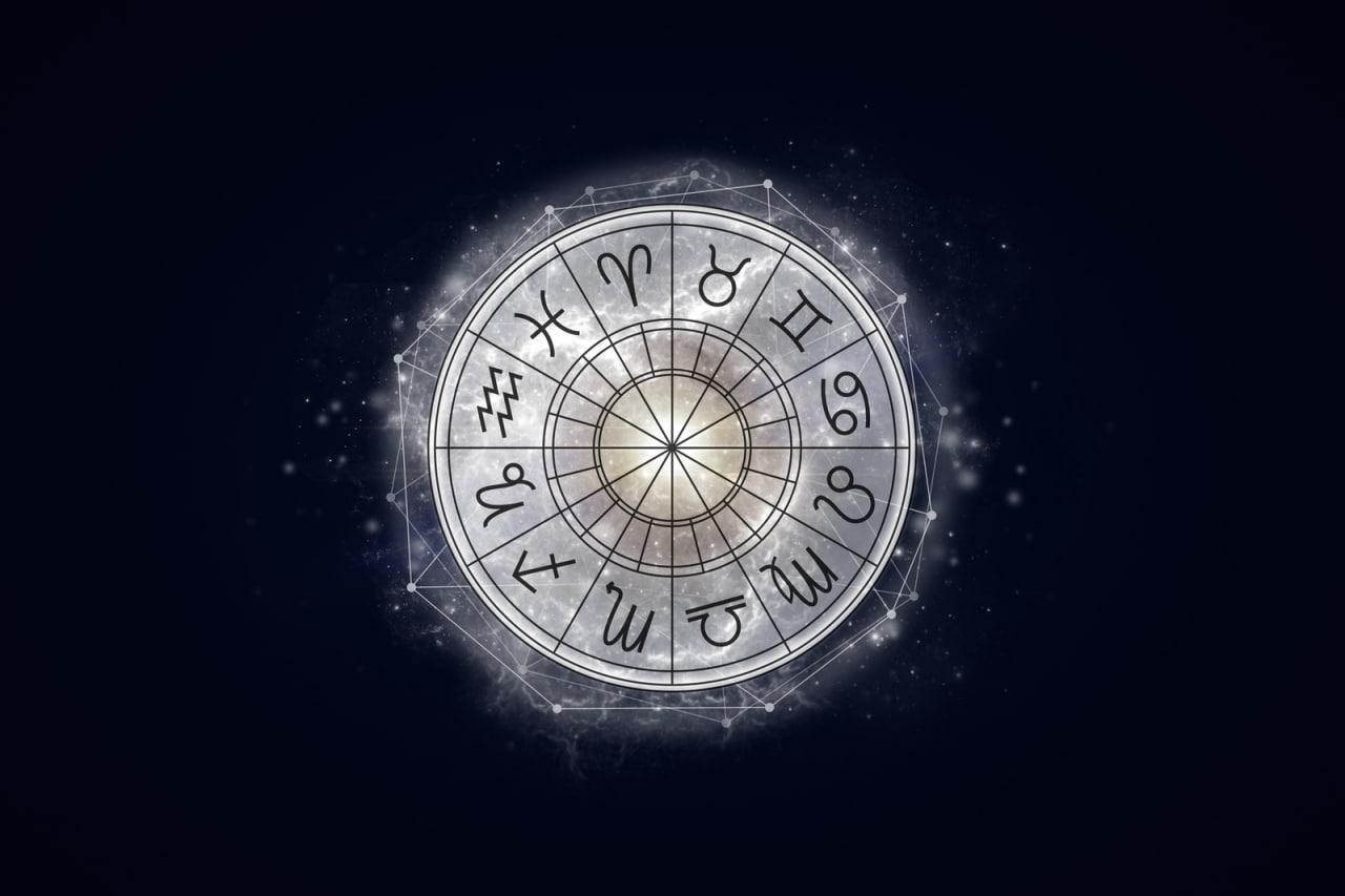 Rueda de los 12 signos del zodíaco de color gris