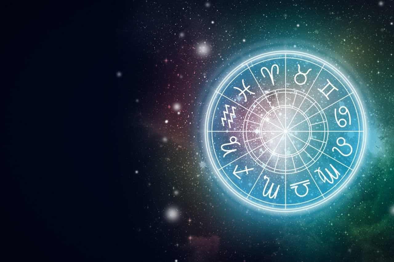 Rueda de los 12 signos del zodíaco de color azul neón
