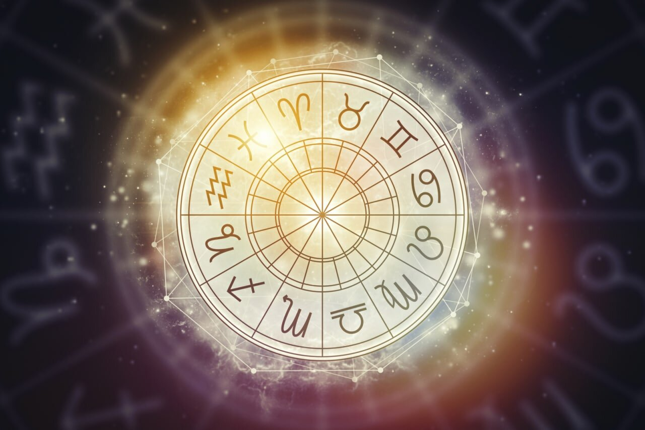 Roue des 12 signes du zodiaque jaunes