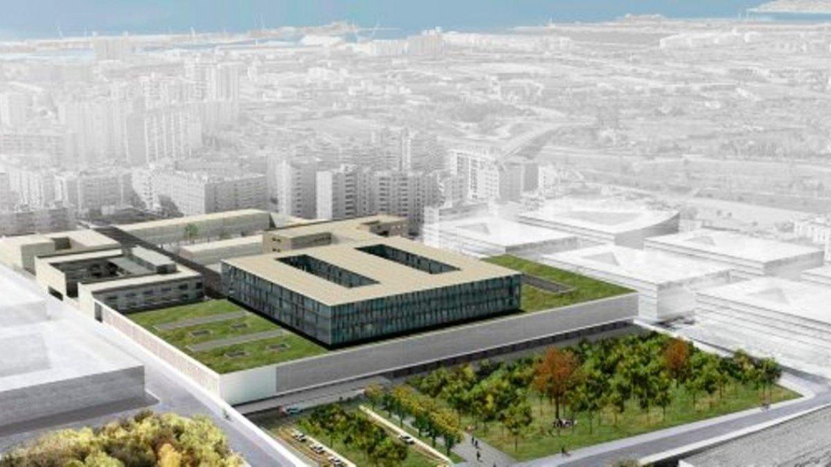 Recreació aèria del projecte 'Entre Places' per al nou recinte de l'Hospital Joan XXIII.